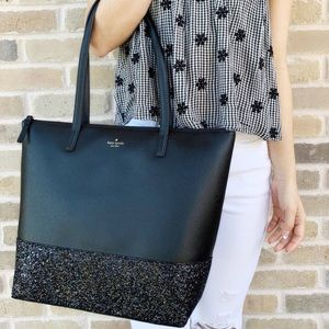 NWT Kate Spade Greta court Black glitter tote bag